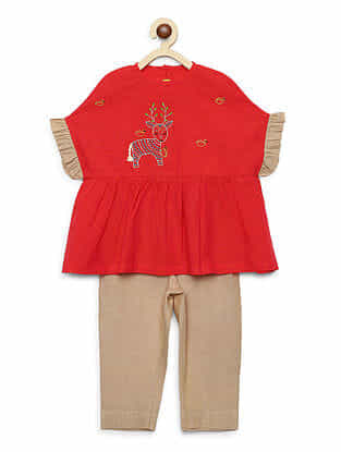 Gond Deer Peach Embroidered Cotton Ruffle Top with White Trousers