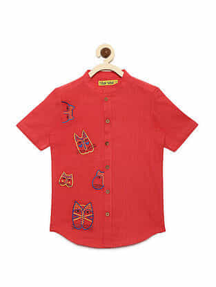 Cat Face Peach Cotton Shirt with Mexican-inspired Embroidery
