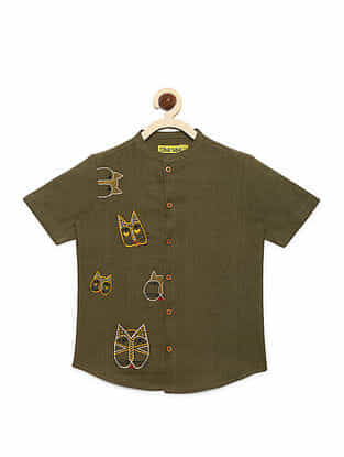 Cat Face Olive Cotton Shirt with Mexican-inspired Embroidery