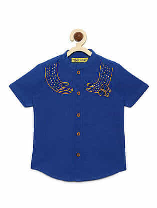 Cat Blue Cotton Collared Shirt with Mexican-inspired Embroidery