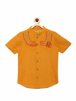 Cat Mustard Cotton Collared Shirt with Mexican-inspired Embroidery