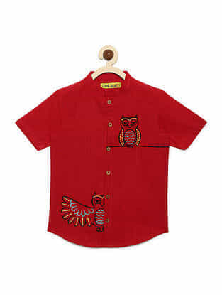 Owl Red Cotton Shirt with Mexican-inspired Embroidery