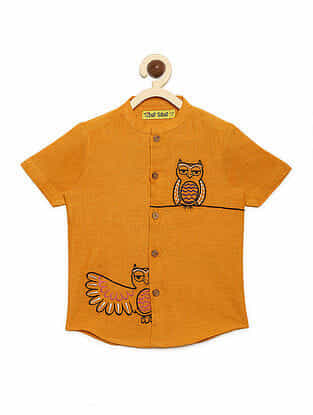 Owl Mustard Cotton Shirt with Mexican-inspired Embroidery