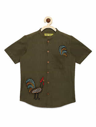 Rooster Olive Cotton Shirt with Mexican-inspired Embroidery