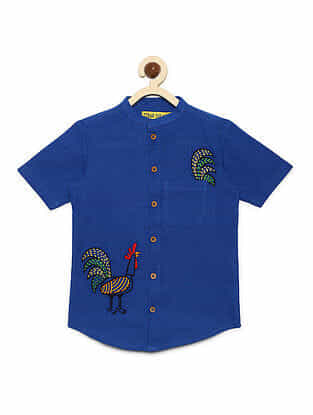 Rooster Blue Cotton Shirt with Mexican-inspired Embroidery