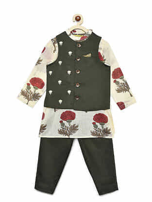 Floral Off-White Cotton Kurta with Olive Pyjama and Nehru Jacket