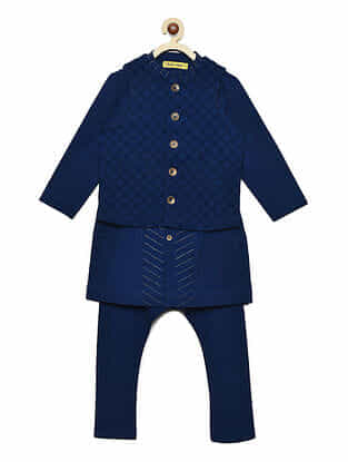 Blue Cotton Kurta and Pyjama with Nehru Jacket