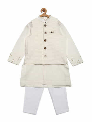 White Cotton Kurta and Pyjama with Jacquard Nehru Jacket