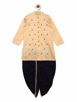 Pine Buta Cream Cotton Kurta with Blue Dhoti