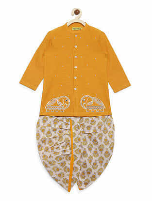 Elephant Mustard Cotton Kurta with White Dhoti