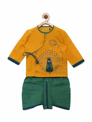 Peacock Mustard Cotton Kurta with Green Dhoti