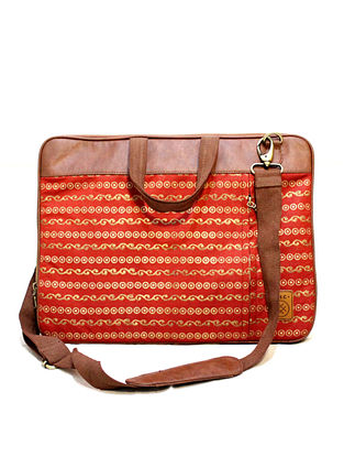 Red Handcrafted Vegan Leather Laptop Bag