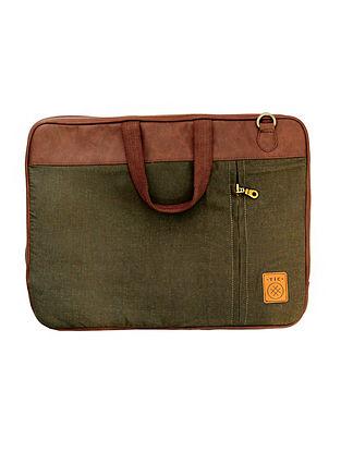 Olive Handcrafted Vegan Leather Laptop Bag