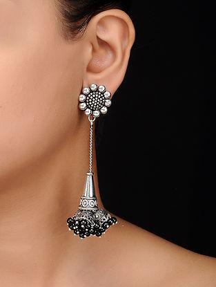 Black Silver Tone Brass Earrings