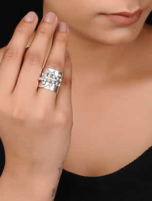 Classic Silver Tone Brass Ring
