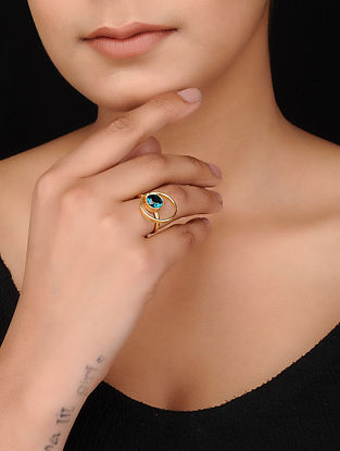 Blue Gold Tone Brass Ring