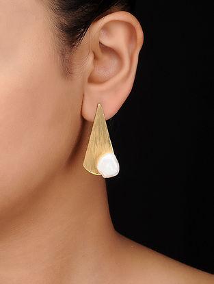 White Gold Tone Brass Earrings
