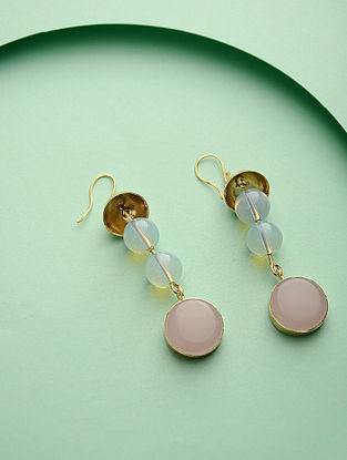 Pink-Blue Gold Tone Brass Earrings