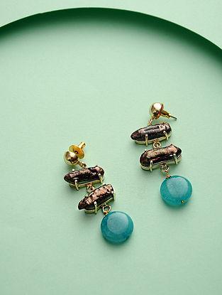 Blue-Brown Gold Tone Brass Earrings