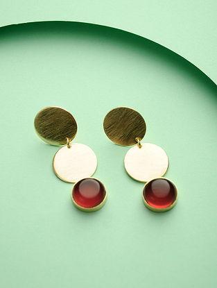 Red Gold Tone Brass Earrings