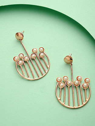Rose Gold Pearl and Brass Earrings
