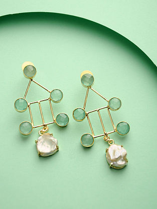 Aqua Green Gold Tone Brass Earrings