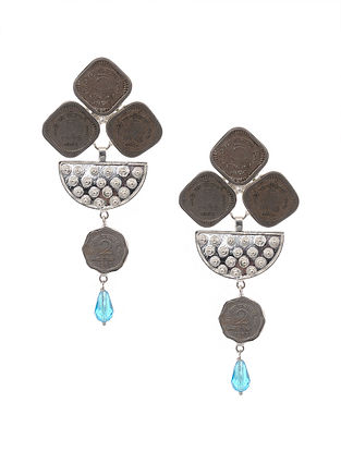 Blue Silver Tone Brass Earrings with Coins
