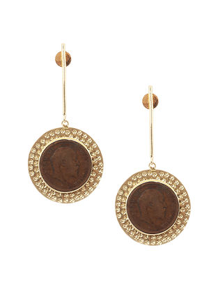 Gold Tone Brass Earrings with Coin