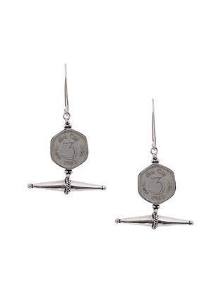 Silver Tone Brass Earrings with Coin