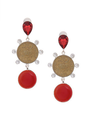 Red Dual Tone Brass Earrings with Coin