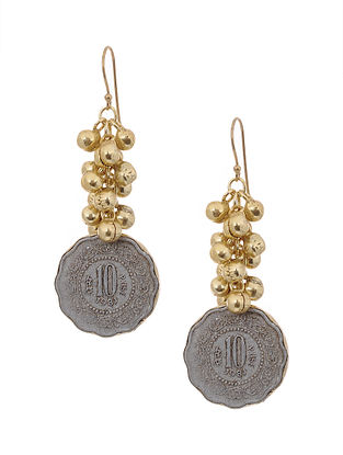 Dual Tone Brass Earrings with Coin