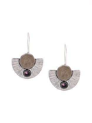 Purple Silver Tone Brass Earrings with Coin