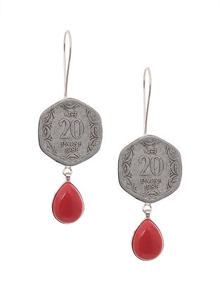Red Silver Tone Brass Earrings with Coin