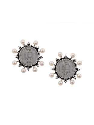 White Silver Tone Brass Earrings with Coin
