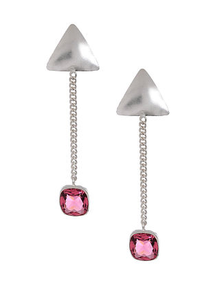 Pink Silver Tone Brass Handcrafted Earrings
