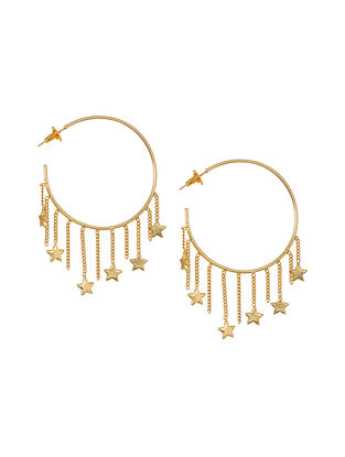Gold Tone Brass Handcrafted Earrings