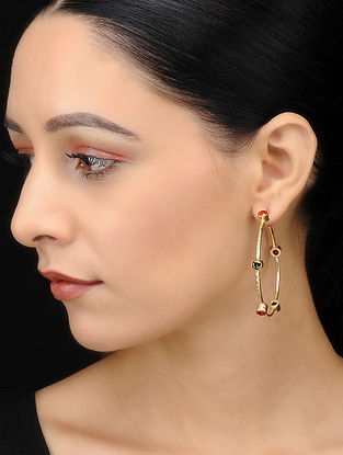 Multicolored Gold Tone Brass Handcrafted Earrings