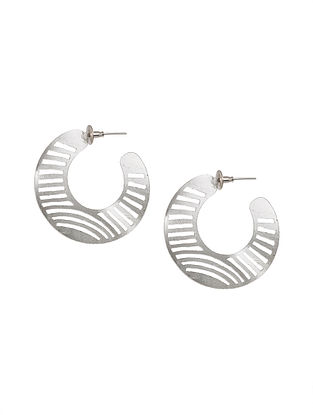 Classic Silver Tone Brass Handcrafted Earrings