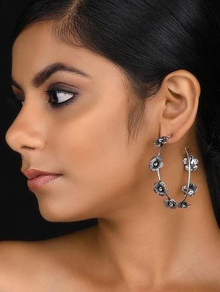 Silver Tone Brass Hoop Earrings