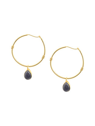 Blue Gold Tone Brass Hoop Earrings