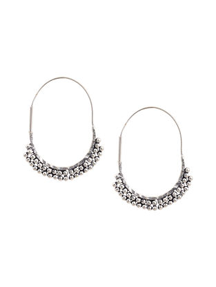 Silver Tone Brass Hoop Earrings