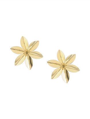 Gold Tone Brass Stud Earrings