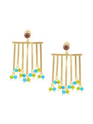 Multicolored Gold Tone Brass Earrings