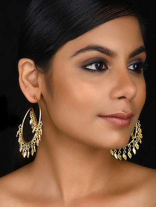 Gold Tone Brass Hoop Earrings