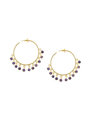 Purple Gold Tone Brass Hoop Earrings