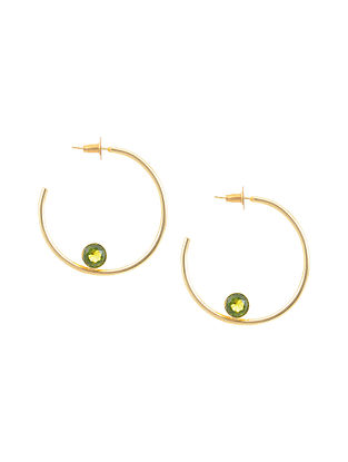 Green Gold Tone Brass Hoop Earrings