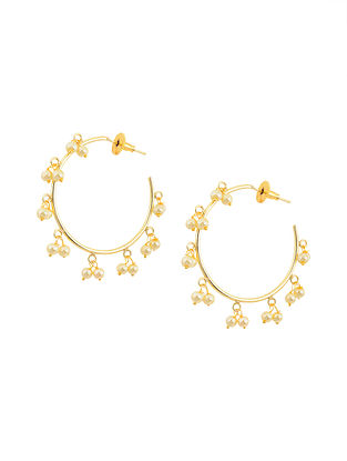 Gold Tone Brass Hoop Earrings with Pearls