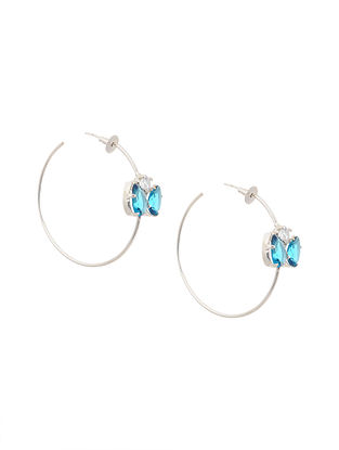 Blue Silver Tone Brass Hoop Earrings