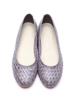 Grey Leather Ballerinas