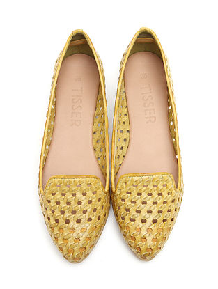 Yellow Leather Flat Pumps